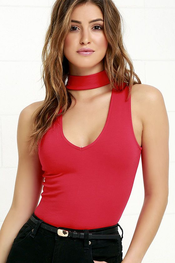 Slip into the Powerhouse Red Bodysuit, and bring down the house at every event you attend! Sleek stretch knit shapes this sexy bodysuit with a mock neck, and plunging V-neckline. Sleeveless bodice hugs your figure down to cheeky brief bottom with two snap closures. Hidden back zipper.