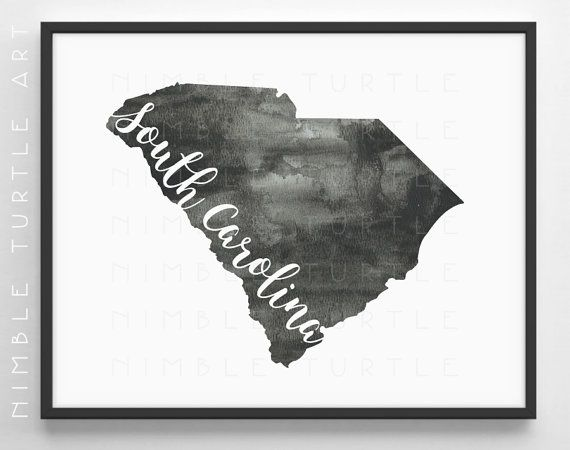 South Carolina State Outline Watercolor -  Printable South Carolina Wall Art…