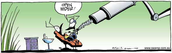 Hate going to the dentist? Check out the size of this drill! #dentist #joke #swampcartoons #ant #drill http://www.swamp.com.au/search.php?s=7130