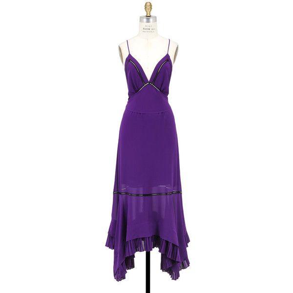 Derek Lam Amethyst Silk Cami Dress ($1,850) ❤ liked on Polyvore featuring dresses, silk cami, silk cami dress, amethyst dress, purple dresses and cami dress