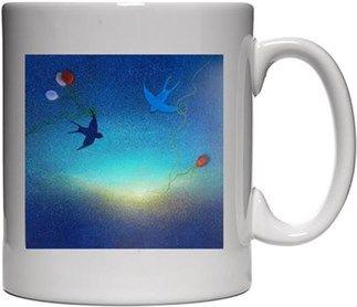 Mavi Gökyüzü ve Kuşlar-kupa Kendin Tasarla - Beyaz Kupa