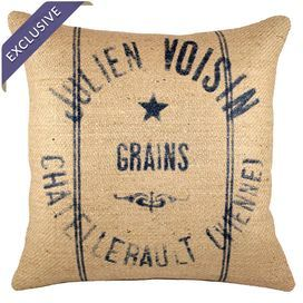 "Burlap pillow with a vintage-inspired typographic motif. Handmade in the USA.  Product: PillowConstruction Material: Burlap coverColor: Navy and beigeFeatures:  Handmade by TheWatsonShopZipper enclosureMade in the USAInsert included Dimensions: 16"" x 16""Cleaning and Care: Spot clean"