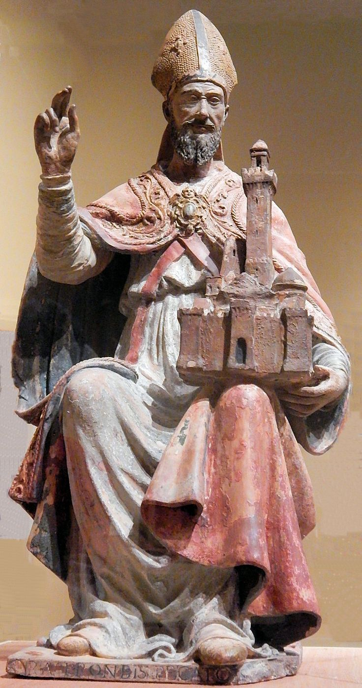 "Early 16th Century Italian statue of St. Petronius at the Joslyn Art Museum in Omaha, Nebraska. He is represented holding the city of Bologna, of which he is the patron Saint of and at the bottom is written in Latin, ""Pray for us sinners."""