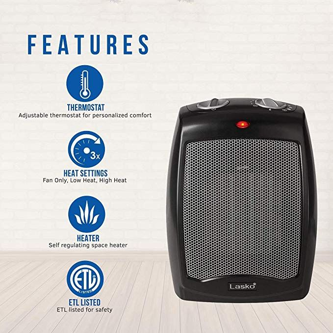 3 Quiet Settings Including High Heat Low Heat And Fan Only Make This Electric Space Heater Ideal For Warming Up A Space Heater Heater Portable Space Heater