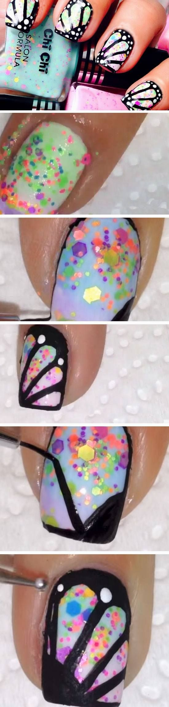 Butterfly Wings   18 Easy Summer Nail Art for Short Nails that scream summer!