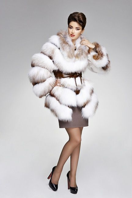 Natural Cross Fox Fur Jacket