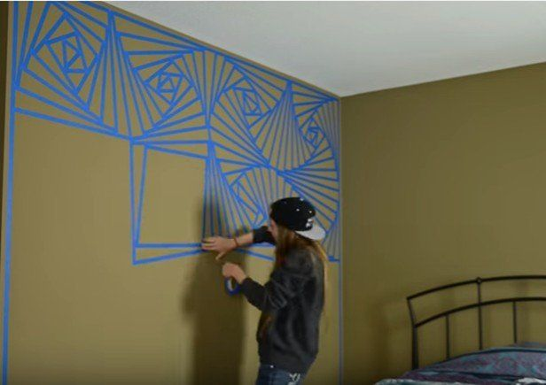 Diy Abstract Geometric Wall Painting Technique Video Geometric Wall Paint Abstract Wall Painting Wall Painting Techniques