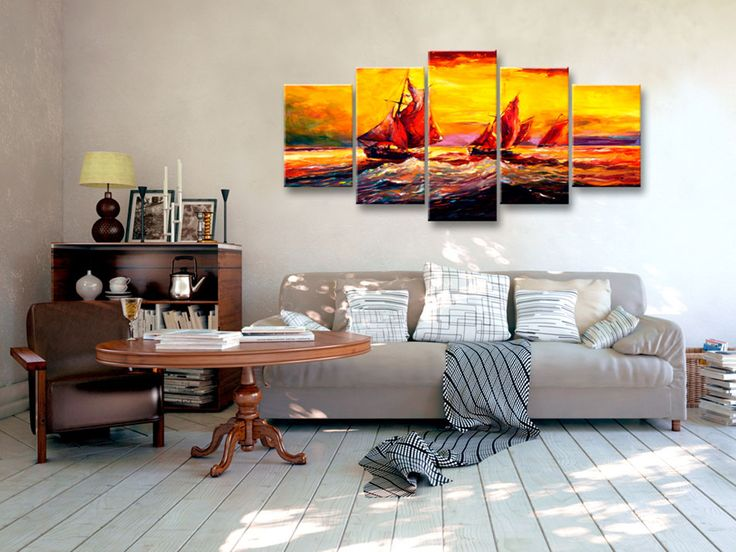 Sunny sea theme and five-piece canvas wall art match together perfectly!