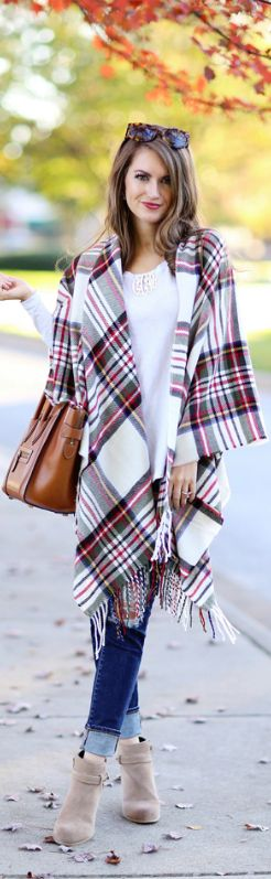 Plaid Poncho / Fashion By Southern Curls And Pearls