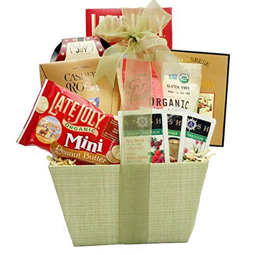 Great gift for graduation, birthday, thinking of you or any occasion Perfect gift basket for family and friends, or as a corporate office gift. Gift Basket contains: organic cherry sweets, California nature's joy pistachios, dried fruit medley, organic tea in three flavors, organic cheddar cheese crackers, Late July organic peanut butter cookies, and cashew roca. Broadway Basketeers Organic and Natural Healthy Gift Basket - A Healthy Gift Basket