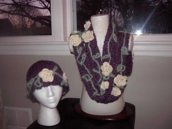 Crochet Flower Setvintageclassic elegant by inspirebynancy on Etsy, $50.00