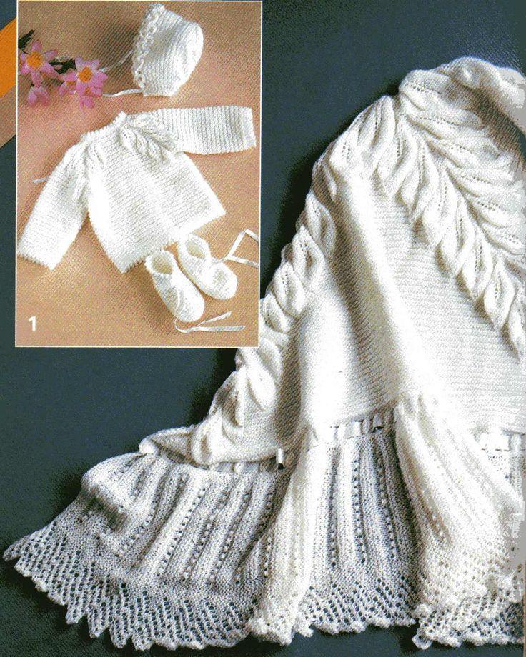 Receita nº 1 - Casaquinho, sapatinhos e touca em ponto com folhas   Material para a touca, casaquinho e sapatinho:  80g de lã branca  ag ...