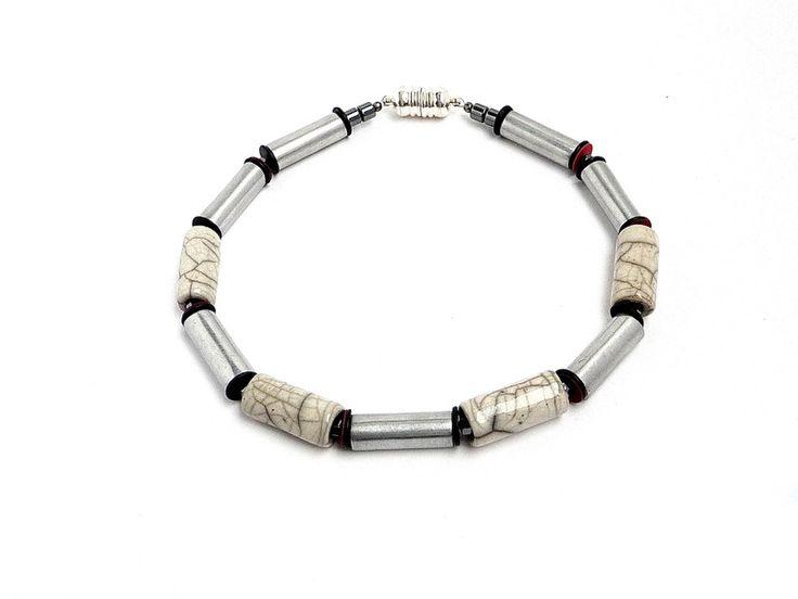 Ketten mittellang - Halskette Marmor Stahl Keramik Raku Collier - ein Designerstück von MANOLO-UNIKATE bei DaWanda