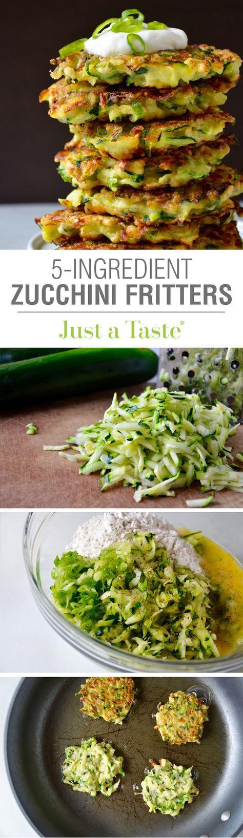 5-Ingredient Zucchini Fritters #recipe via justataste.com Flour, egg, zucchini, scallion. sour cream topping.