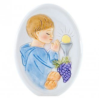 Painting Boy First Communion oval shaped 8cm | online sales on HOLYART.co.uk