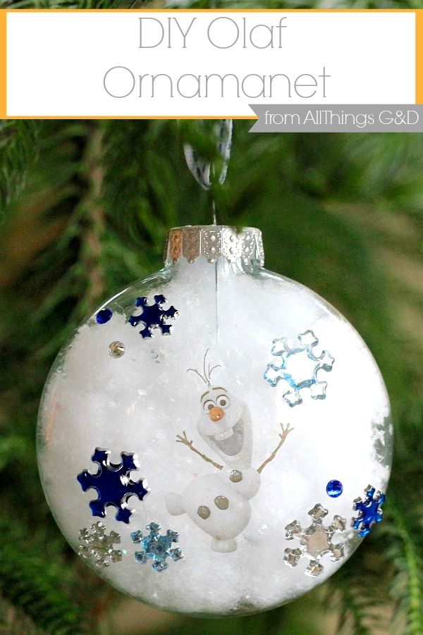 DIY Olaf Ornament made using stickers and a tattoo - it couldn't be easier!