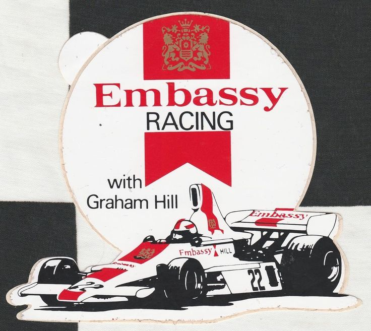 Embassy racing with graham hill lola t370 22 f1 1975 original period sticker