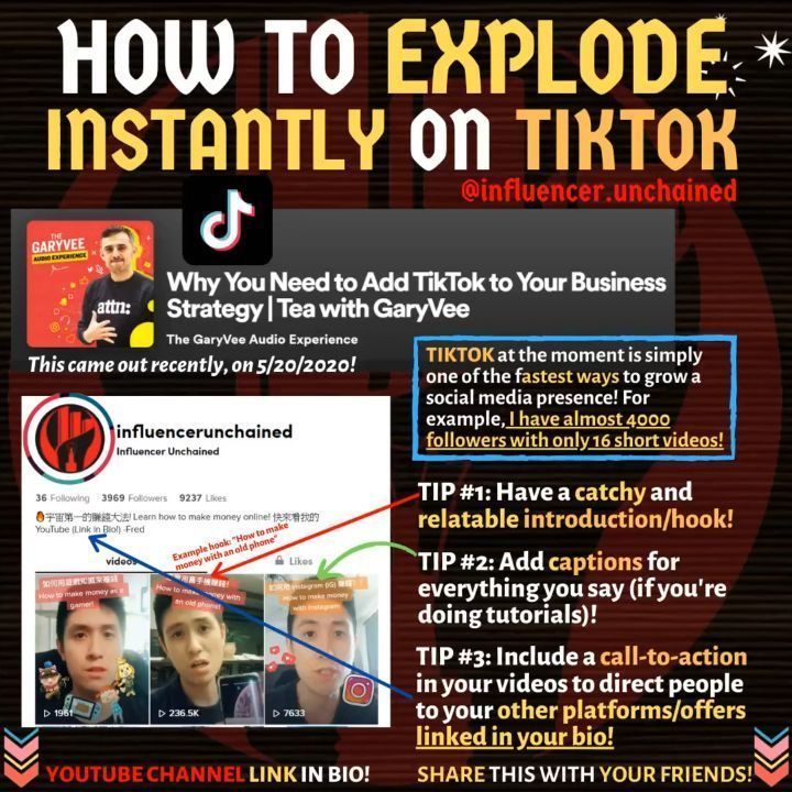 How To Explode Instantly On Tiktok And Why You Should Be On Tiktok Digital Entrepreneur Business Tips Business