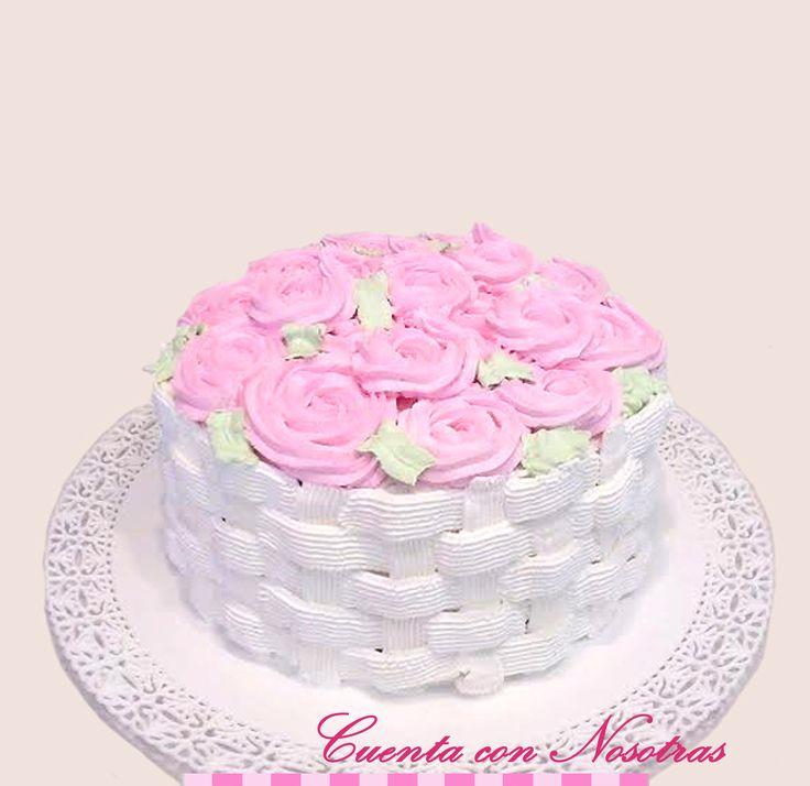 Torta de Crema Mujer Torta Canastillo de Flores