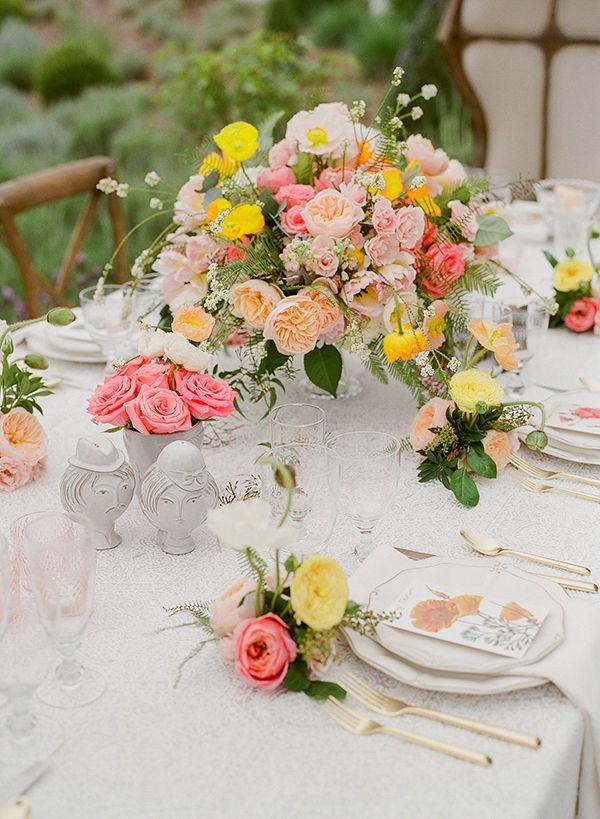pink and yellow wedding flowers - photo by Sarah Maren Photography http://ruffledblog.com/spring-blooms-wedding-inspiration