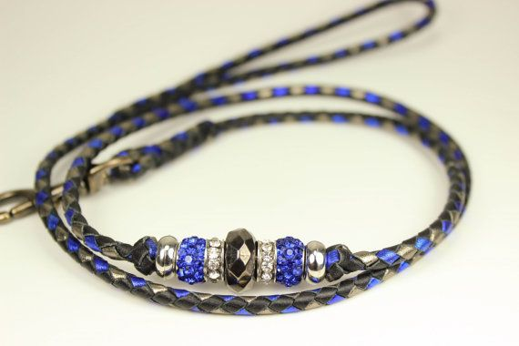Metallic Pewter bleu et noir tressé kangourou par KageeCreations