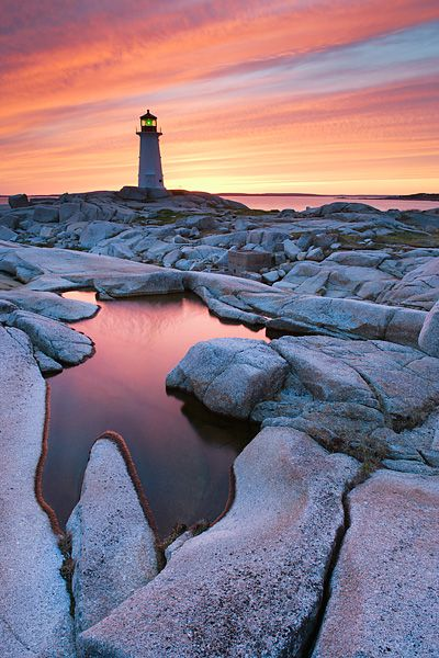 Peggy's Cove Lighthouse at dusk - Peggy's Cove, Nova Scotia, Canada