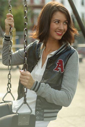A for Adrienne Letterman Baseball Jacket - Black