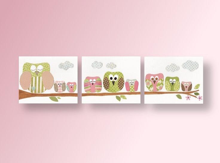 Lot de 3 illustrations pour chambre d'enfant et bebe, fille, decor : Décoration pour enfants par galerie-anais