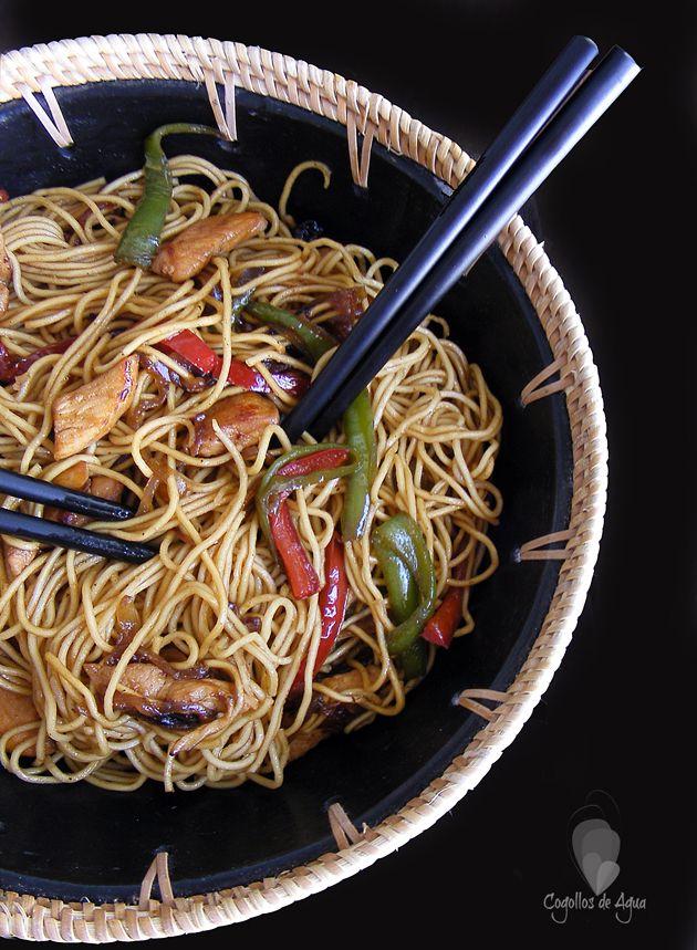 PASTA CHINA CON POLLO Y SALSA DE SOJA #RecetasChinas #CocinaAsiatica