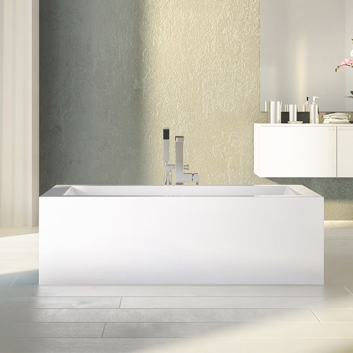 Stylish rectangular freestanding bathtub by Alcove for modern bathroom / Flory De Colt Collection