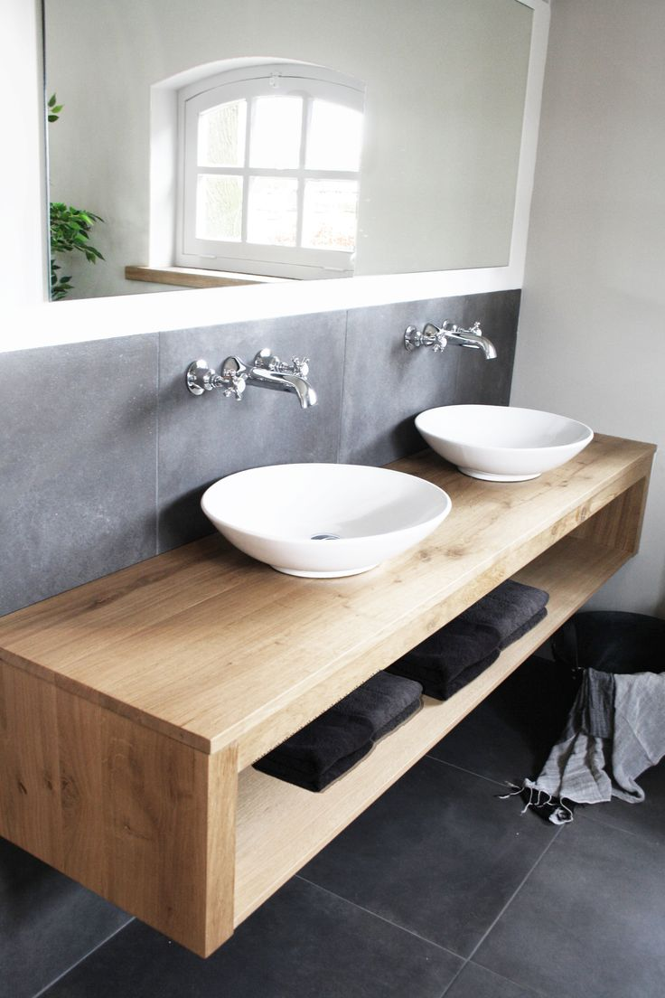 Floating wooden vanity with his and her white vessel sinks and wall mounted  faucets  Great combo    Modern Rustic Style   Interior Design   Home Decor  Inspo. 17 Best ideas about Timber Furniture on Pinterest   Side board
