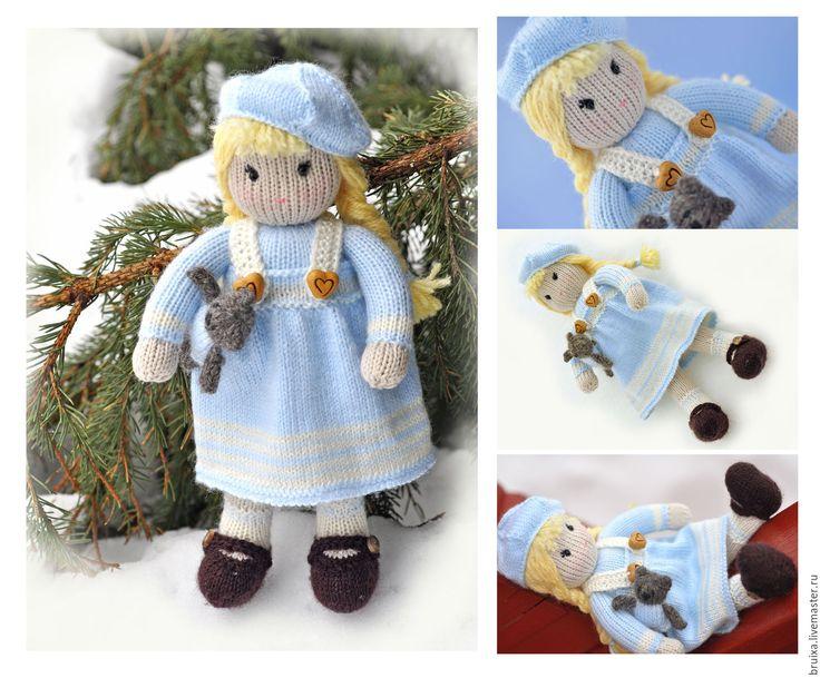 Купить Кукла вязаная. Мастер класс кукла Сашенька - голубой, кукла, МК, МК по вязанию
