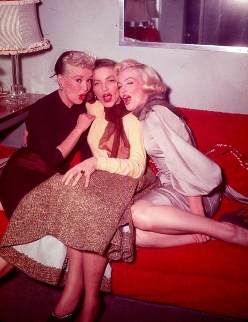 Marilyn, Bette, and Lauren photographed in 1953.