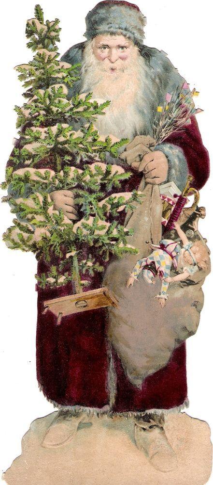 Oblaten Glanzbild scrap die cut chromo Nikolaus XL santa father XMAS tree MICA