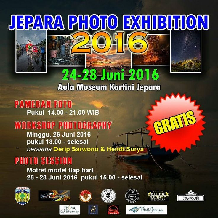 Agenda Jepara Photo Exhibition 2016 24 s/d 28 Juni 2016 di Aula Museum Kartini Jepara  24 Juni 2016  15.00 Pembukaan Jepara Photo Exhibition  17.30 Buka Puasa Bersama  25 Juni 2016  15.00 s/d 17.00 Hunting Foto Model  26 Juni 2016  13.00 s/d 15.00 Workshop Photography  Narasumber 1 Oerip Sarwono (GPI Super Titanium) 2 Hendi Surya (Camera Indonesia / Mata Ponsel)  15.00 s/d 17:00 Photo Session bersama Taqiyya - Anissafey Make up & Boutique  27 Juni 2016  15.00 s/d 17.00 Hunting Foto Model  28…