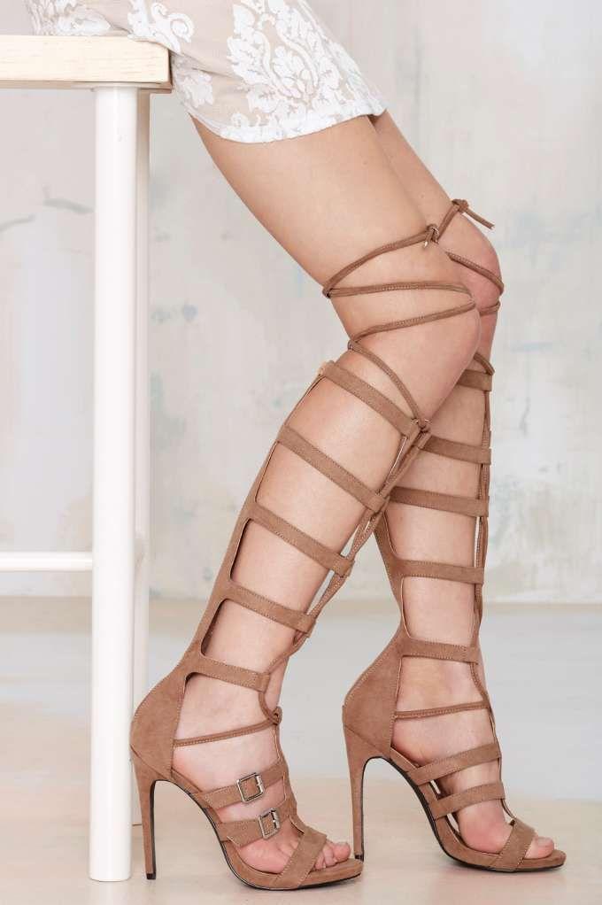 Nasty Gal Lace Me Up Knee-High Heel - Shoes   Open Toe   Heels   Gladiators   Shoes   All   Bohemian Rhapsody