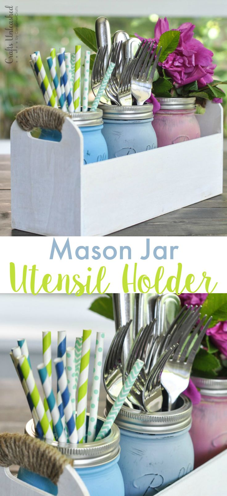 Make your own pretty DIY mason jar utensil caddy for dining outside this summer. Unlike pricey caddies you buy, you can fit whatever you'd like into this!