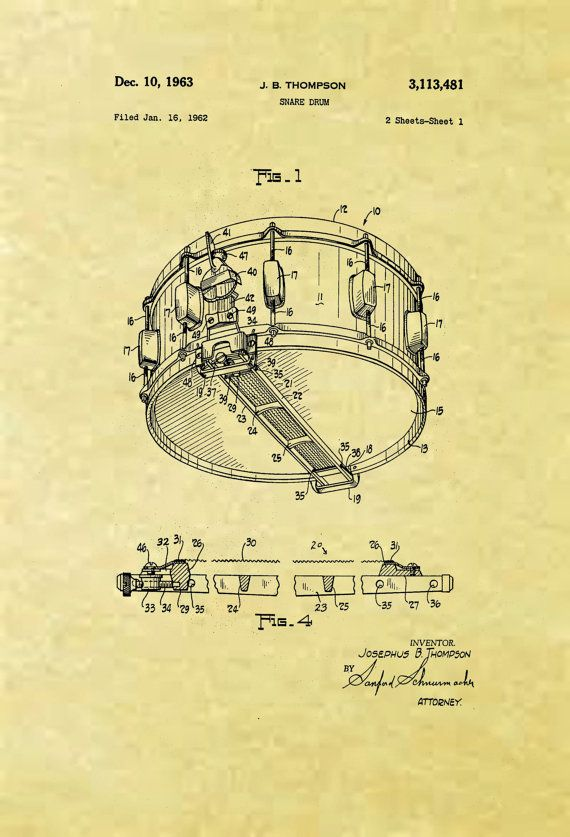 8 5 x 11 reproduced snare drum patent 1963 by tihstudios on etsy tattoo inspiration. Black Bedroom Furniture Sets. Home Design Ideas