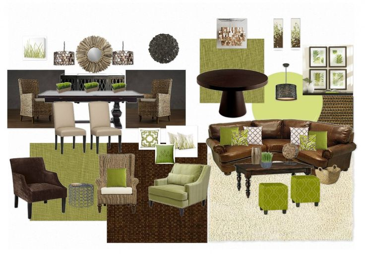 Nice brown and green room the dark brown couch would work - Brown and green living room accessories ...