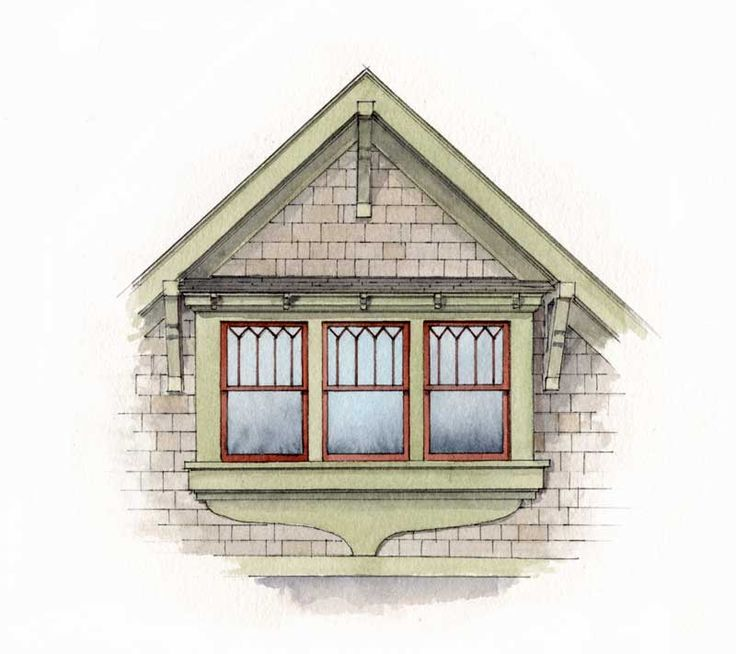 A tiny pent roof held on brackets covers three double-hung gable windows trimmed out as one unit with a sculpted apron; the top-sash muntin pattern is typical of the period.