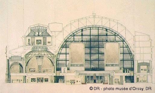 Coupe du bâtiment. Projet de Gae Aulenti musée d'Orsay