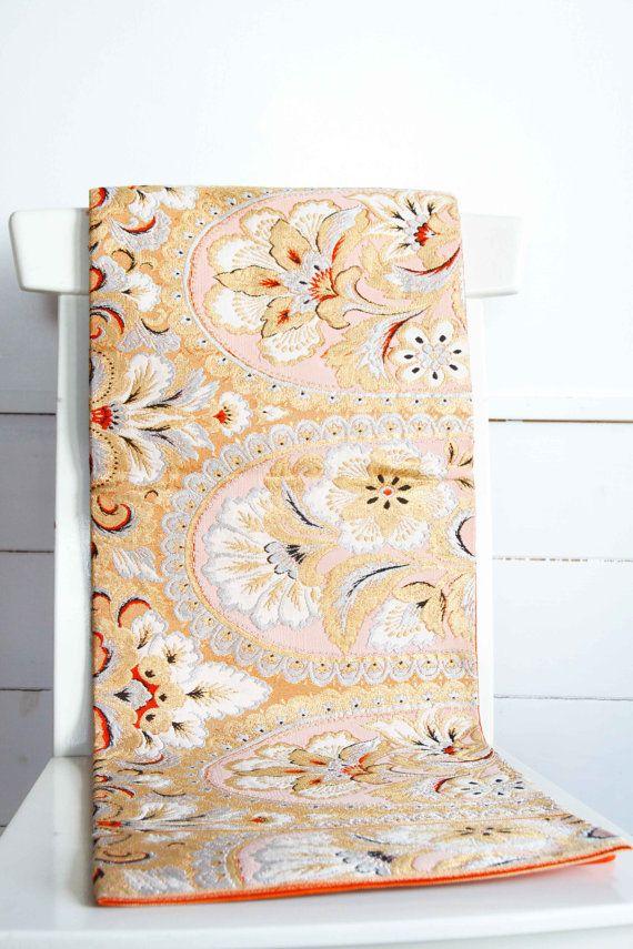 Fukuro Obi Japanese Gold Floral Kimono Belt Accessory by CJSTonbo