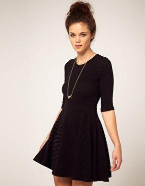 Textured black skater dress