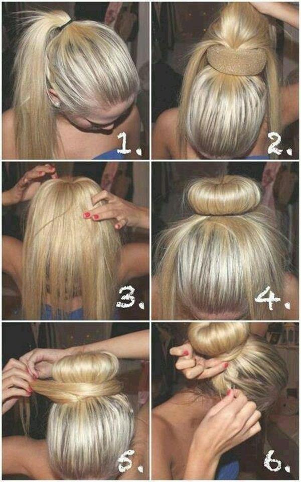 peinado recogido en dona 6 pasos