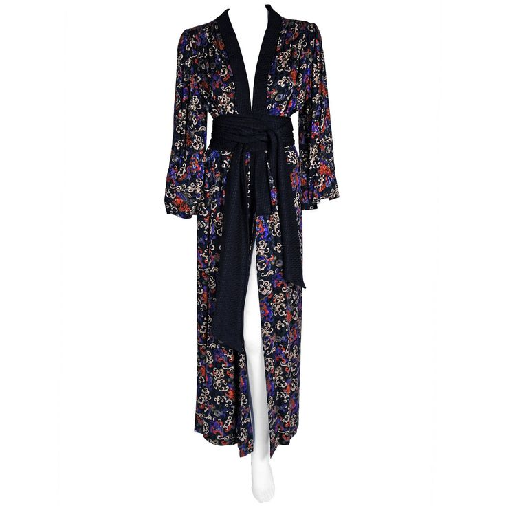 1977 Yves Saint Laurent Haute-Couture Colorful Silk Print Belted Kimono Jacket | From a collection of rare vintage coats and outerwear at https://www.1stdibs.com/fashion/clothing/coats-outerwear/