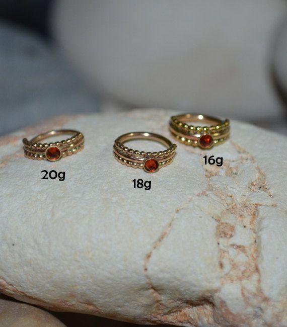 7mm Garnet NOSE RING // Gold Nose Ring Stud 20 gauge