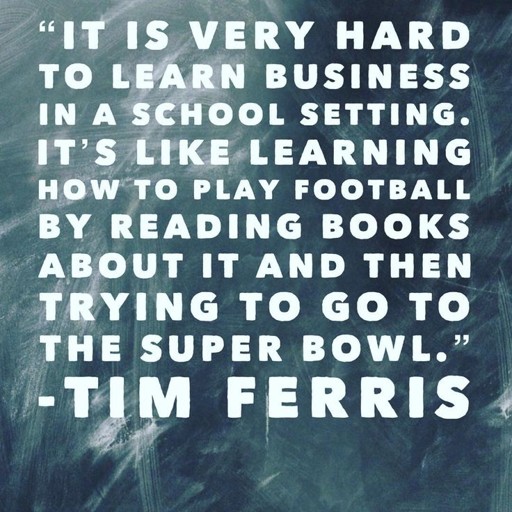 Theres nothing wrong with business school! It gives you the theoretical basis you need to succeed in the world of business. But experiential learning - like internships study tours and mentorship - play a massive part as well. Theory and practice! . . . . . #timferriss #studytour #mba #businessschool #superbowl #football #inspo #motivation #experientiallearning #internship #mentorship #realworld #quote #inspiration #inspirationalquotes #motivationalquotes #school #college #uni #university…