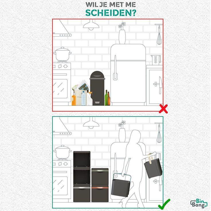 Nooit meer lege glazen, flessen, pizzadozen of karton en papier naast jouw prullenbak! Wil je met me scheiden? #gemak #oplossing #afval #scheiden #design www.binbang.nl/jouw-bin