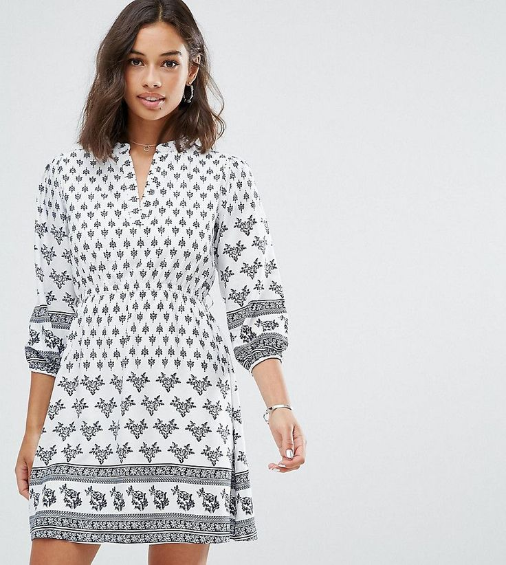Yumi Petite Belted Dress in Border Print - White