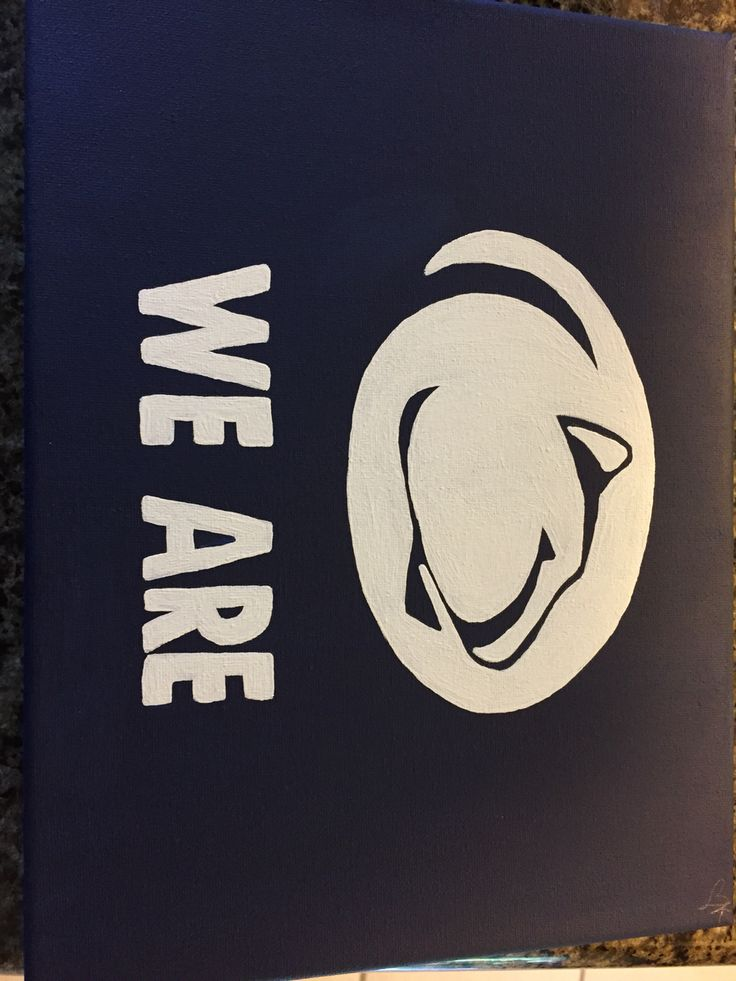 Penn state Nittany lion - we are - PSU canvas with navy and white acrylic paint - hand painted diy